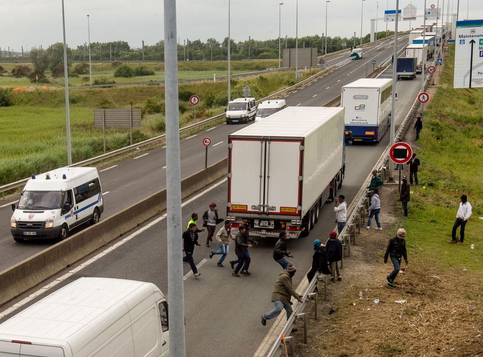 The scene in Calais this summer as migrants sought a route to the UK