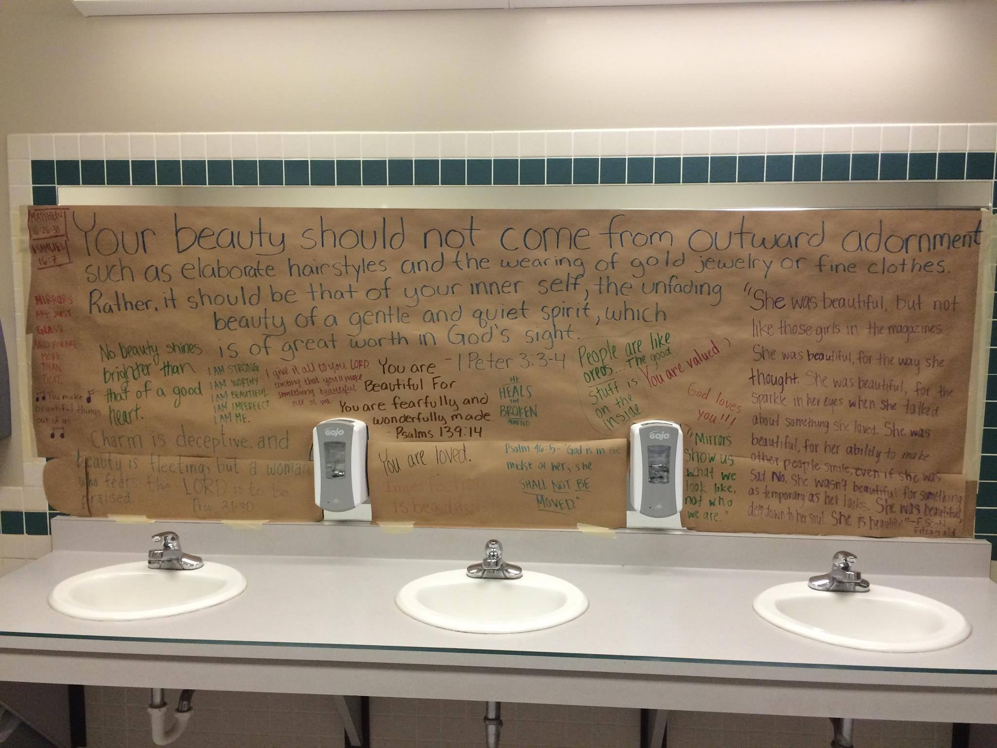 school bathroom. Kansas High School Students Cover Bathroom Mirrors With Inspirational Messages To Promote Positive Body Image | The Independent I