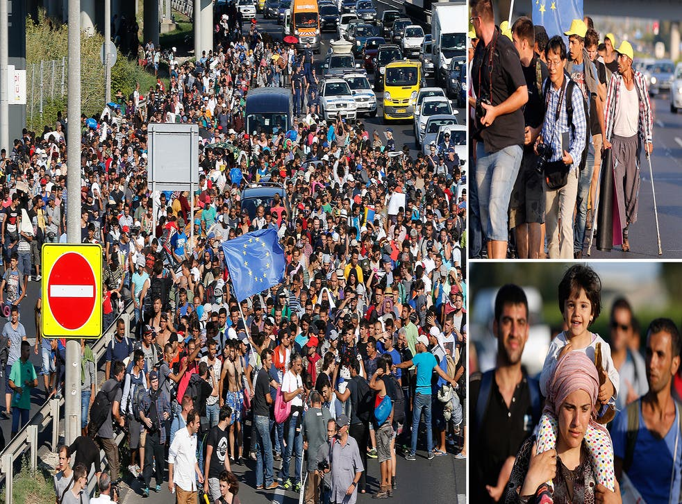 Migrants begin walking towards the Austrian border on September 4, 2015 in Bicske, near Budapest, Hungary. Several thousand migrants began walking today towards Austria after all international trains to Western Europe remained cancelled.
