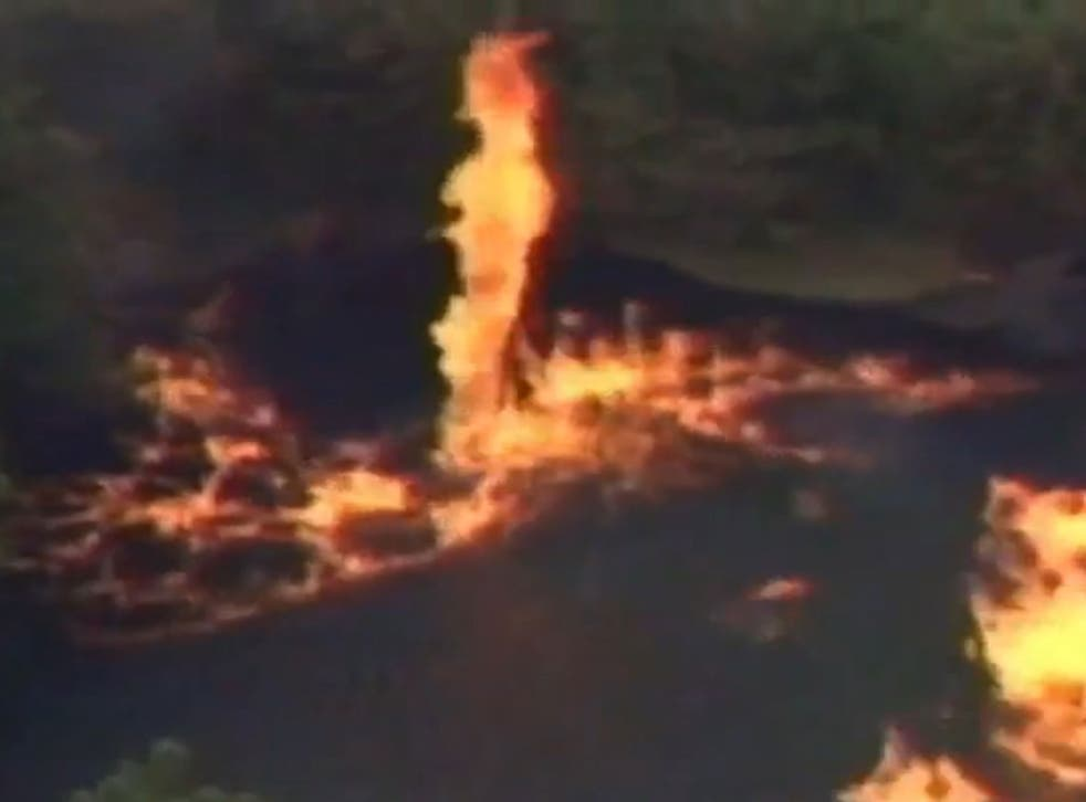 The perfect combination of alcohol, water and wind created firenados spiralling upwards