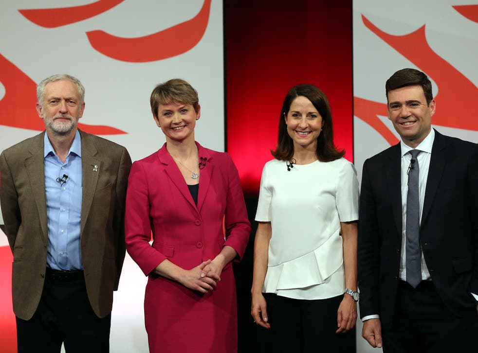 Labour leadership candidates from left, Jeremy Corbyn, Yvette Cooper, Liz Kendall, and Andy Burnham, pose for the media at the end of the Labour party leadership final debate