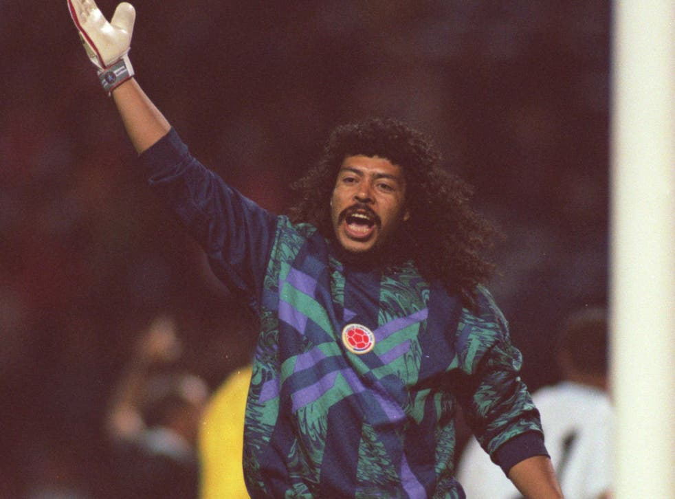 Rene Higuita pictured during the friendly against England at Wembley back in September 1995 when he performed the scorpion kick