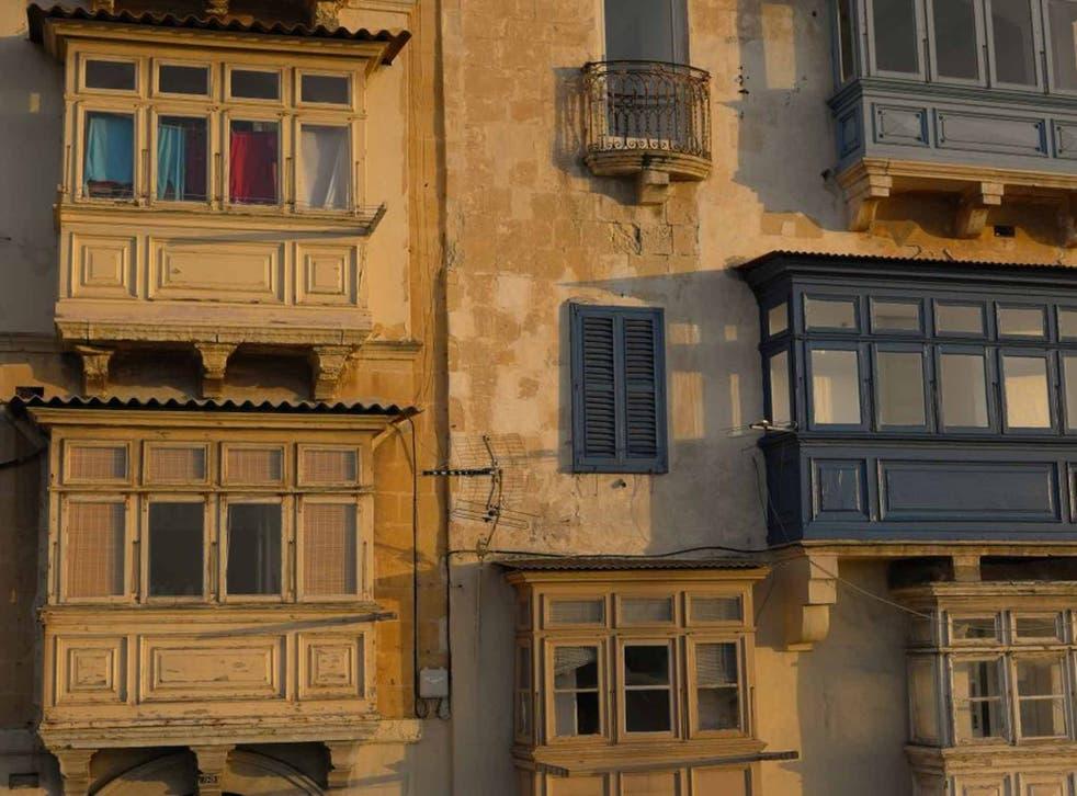 The low sun on Valletta, Malta