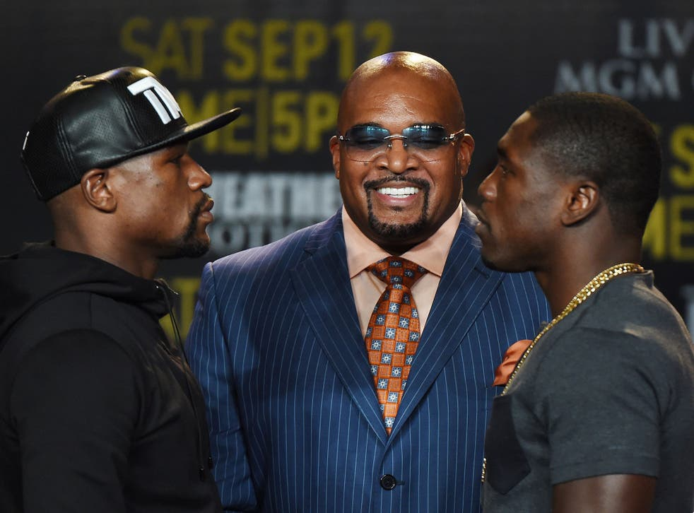 Floyd Mayweather faces off with Andre Berto