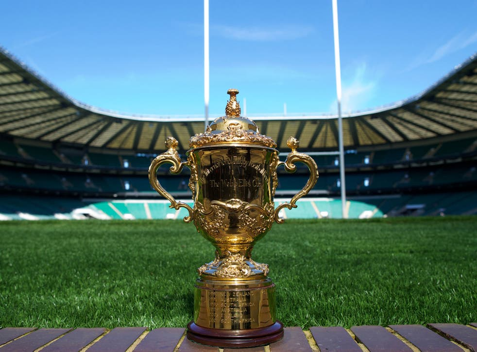 A view of the Webb Ellis Cup at Twickenham