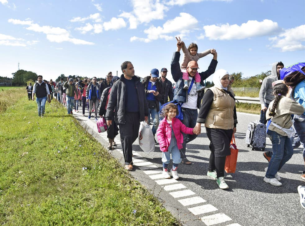 Refugees in Denmark on their way to Sweden