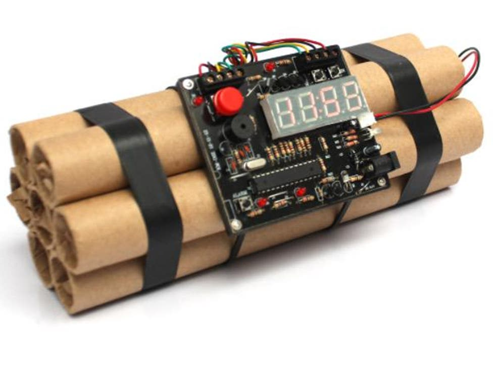 The bomb shaped alarm clock that was found among the teenager's carry-on luggage