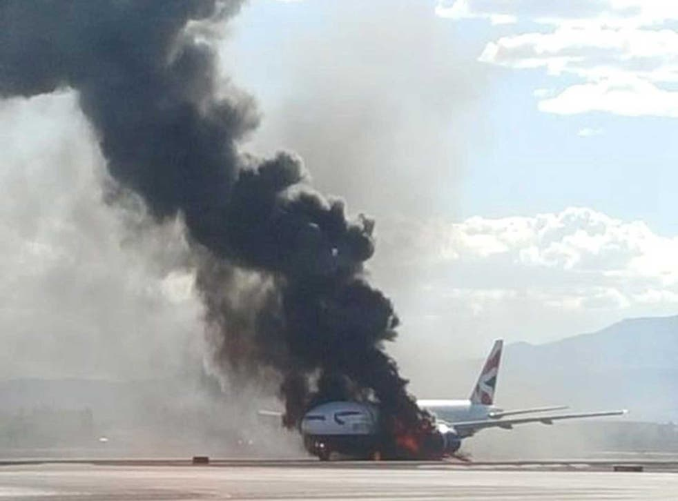 An image of the plane on the LA runway