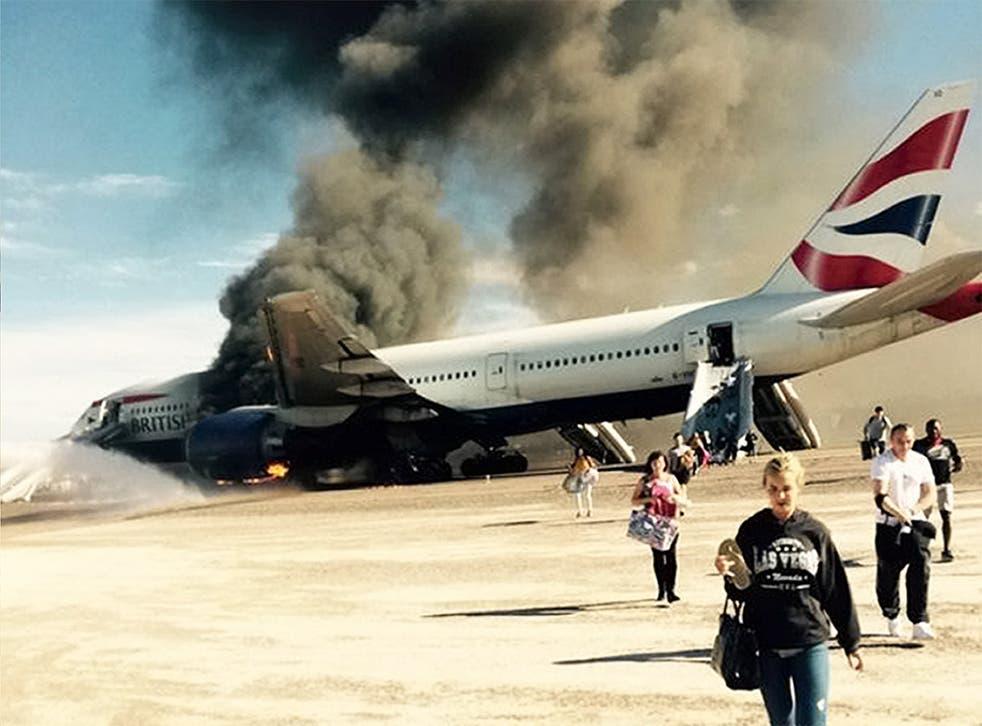 The British Airways plane burst into flames at McCarran airport, Las Vegas
