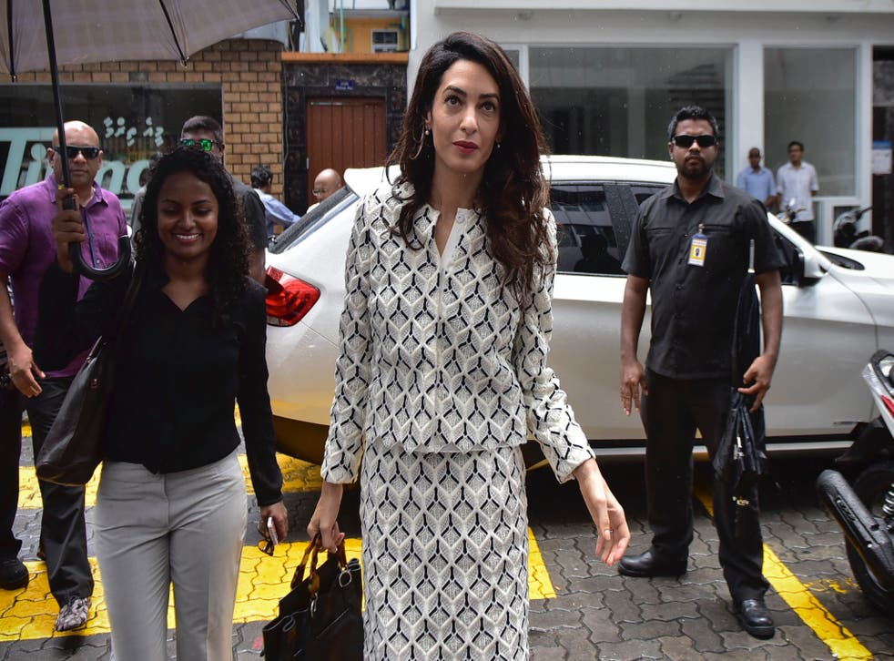 Amal Clooney took a boat to visit Mr Nasheed in jail