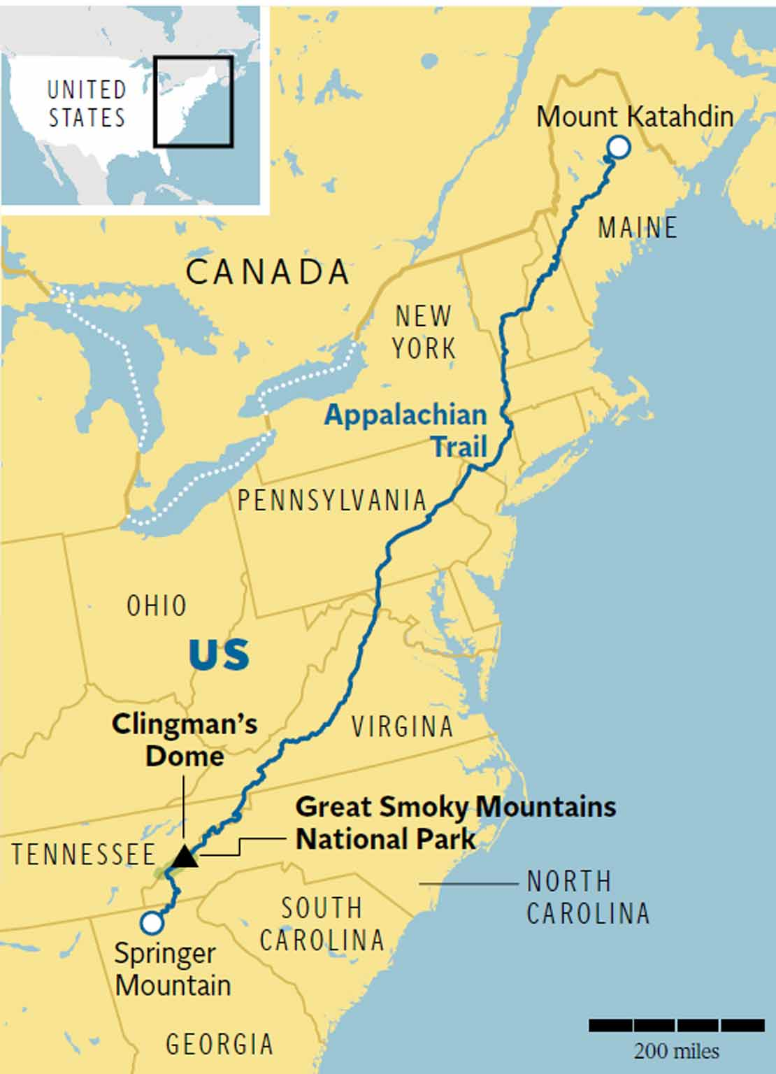 Appalachian Trail New England Map.America S Appalachian Trail Follow In Bill Bryson S Footsteps With