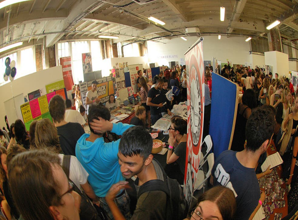 Freshers' fairs, like this one at Students' Union University of the Arts London, are a great way to pick up some useful freebies
