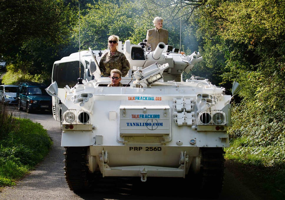 Vivienne Westwood drives tank to David Cameron's house in
