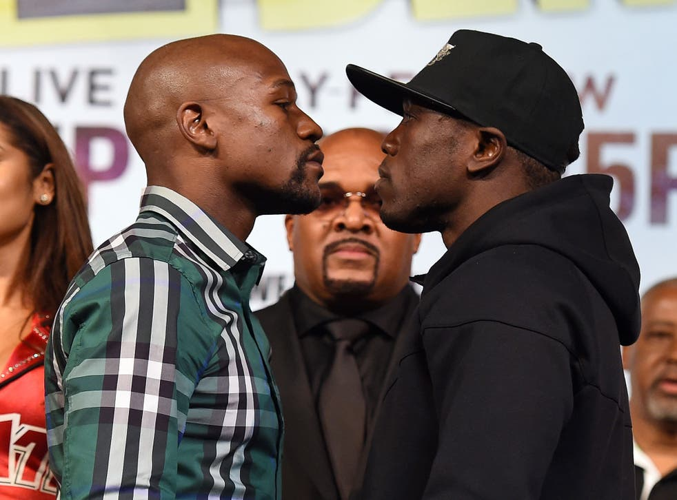 Floyd Mayweather (left) faces off with Andre Berto this week