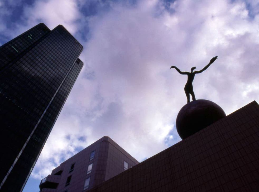 The Sleepwalker, a sculpture by Henri de Miller, installed in the Parisian district La Défense