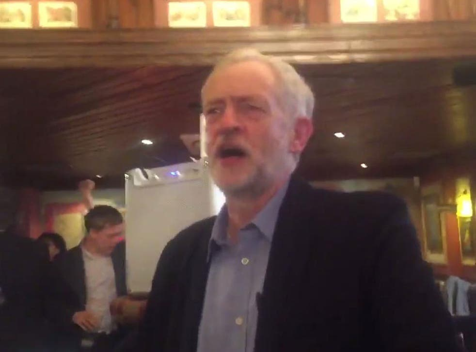 Jeremy Corbyn led a rendition of The Red Flag at his victory party