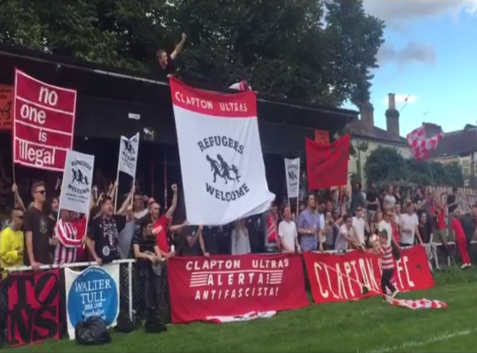 Clapton fans show their support for refugees