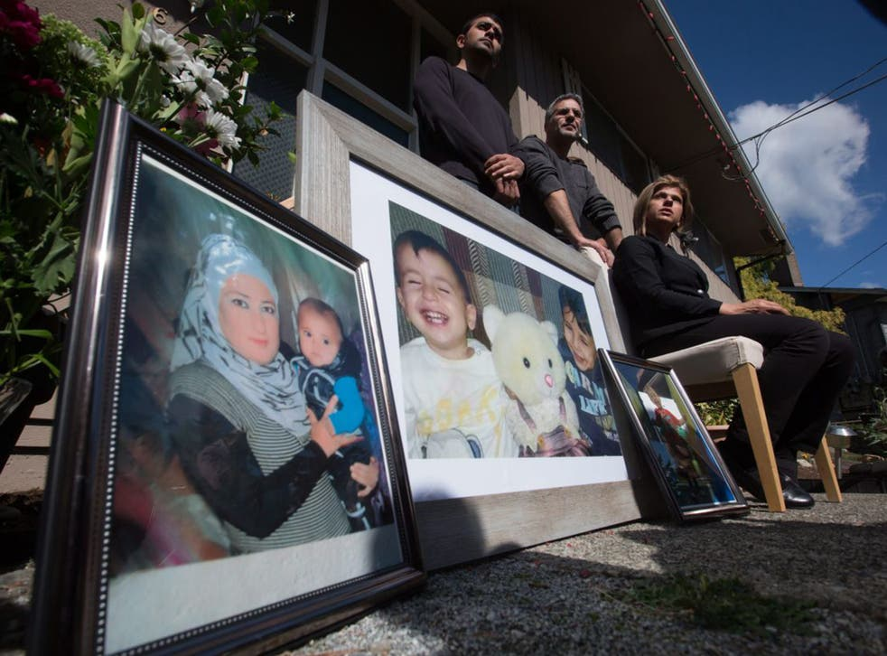 Pictures of Alan Kurdi in front of his aunt's home in Canada