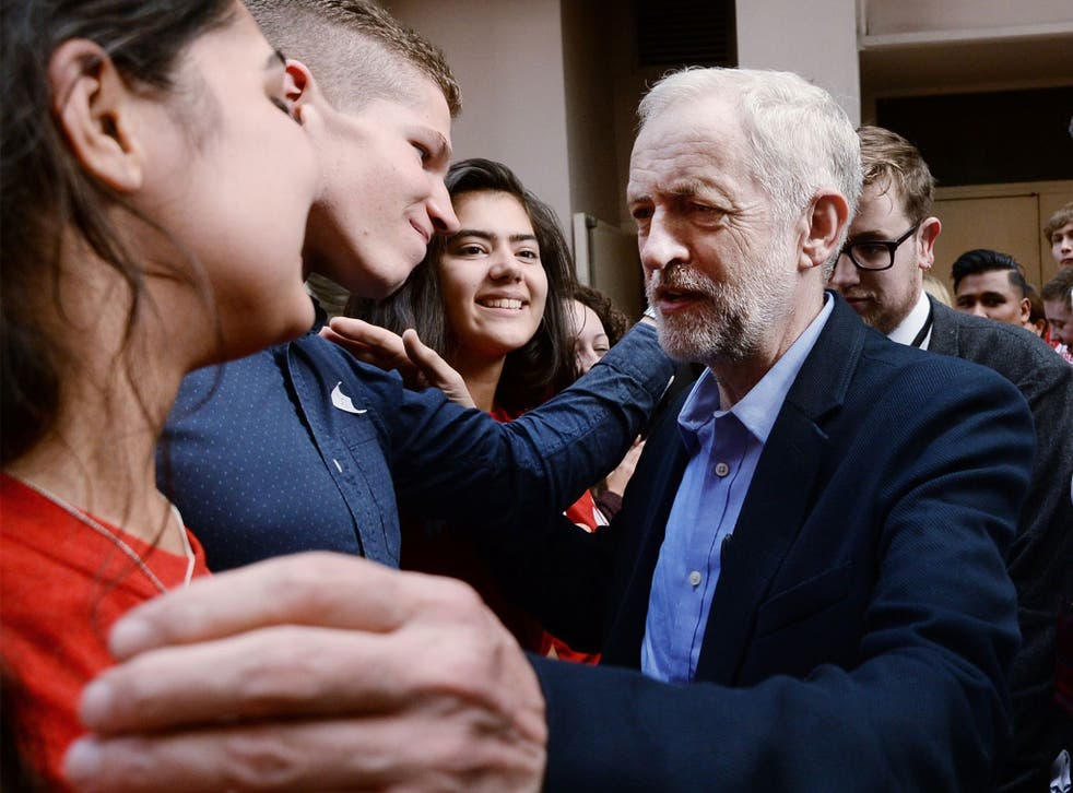 The new Labour leader is greeted by supporters