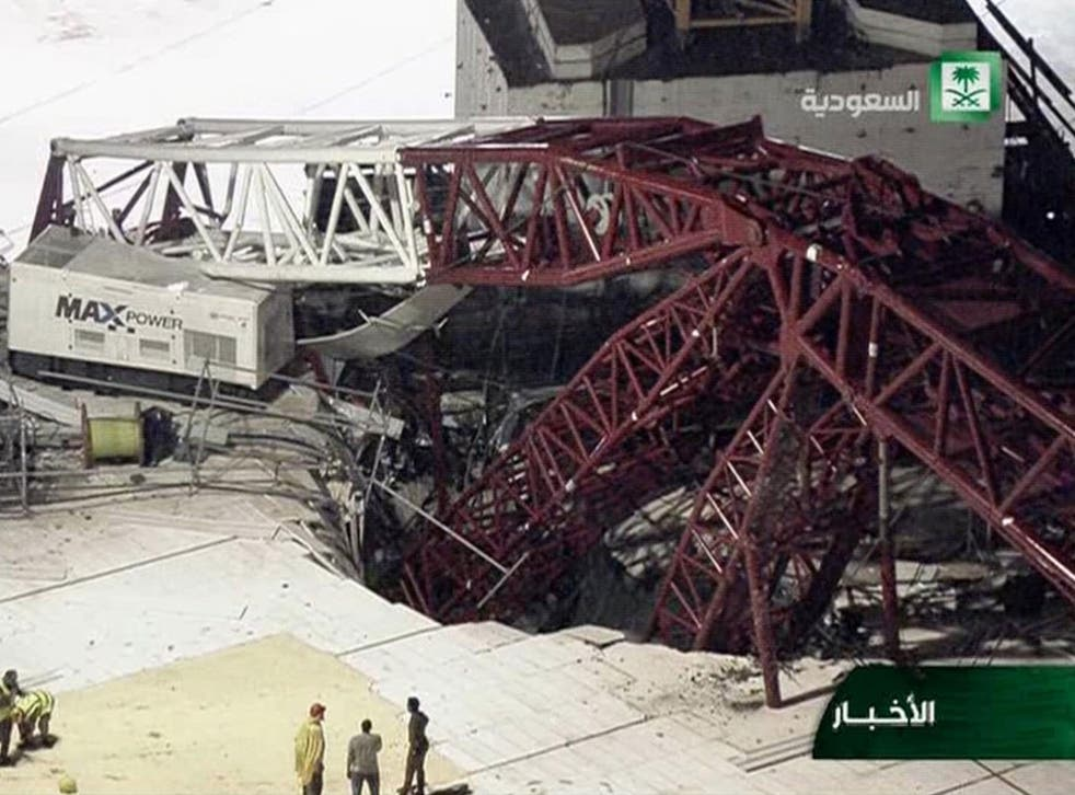 In this still image taken from video released by Saudi TV, a crane is seen collapsed over the Grand Mosque in Mecca. The accident happened as pilgrims from around the world converged on the city for the annual Hajj pilgrimage