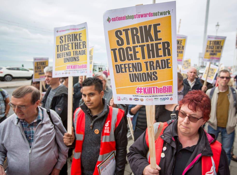 Union members outside the Brighton Centre