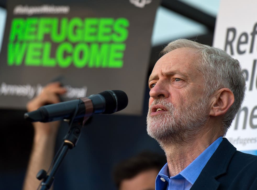 Jeremy Corbyn speaks in Parliament Square at the end of a demonstration