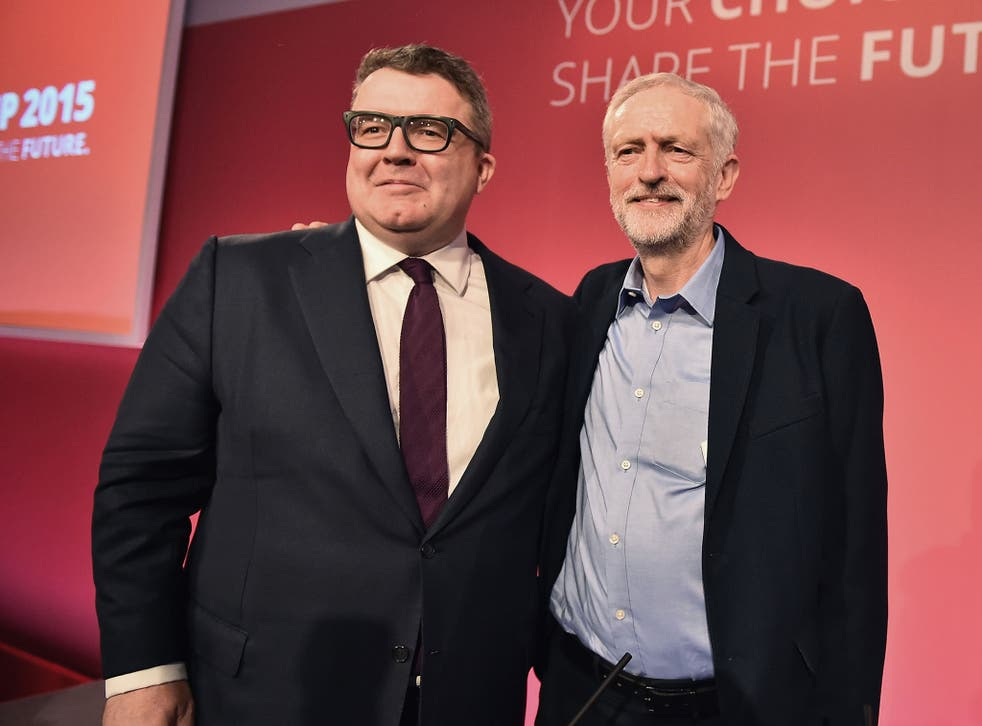 Jeremy Corbyn, right, is announced as the new leader of the Labour Party with Tom Watson, left, elected the new deputy leader