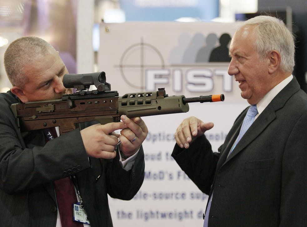 Weapons are exhibited at the Defence Systems and Equipment International Exhibition (DSEi) in 2009. The fair is the largest of its kind in the world
