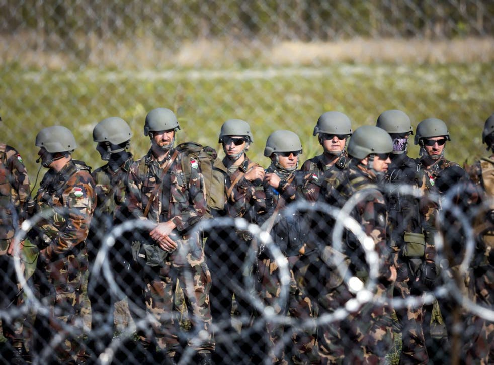 Soldiers at the border between Hungary and Serbia, near Roszke, on Monday
