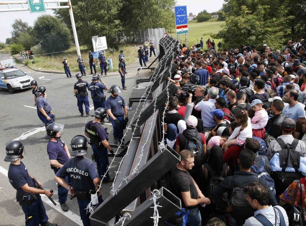 Refugees at the border with Hungary, near the village of Horgos  in Serbia