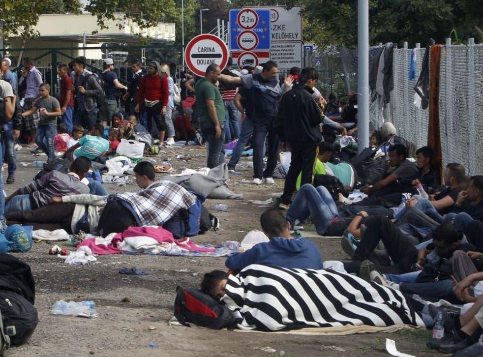 Migrants wait at the Horgos 2 border crossing at the Serbia-Hungary border, 15 September 2015