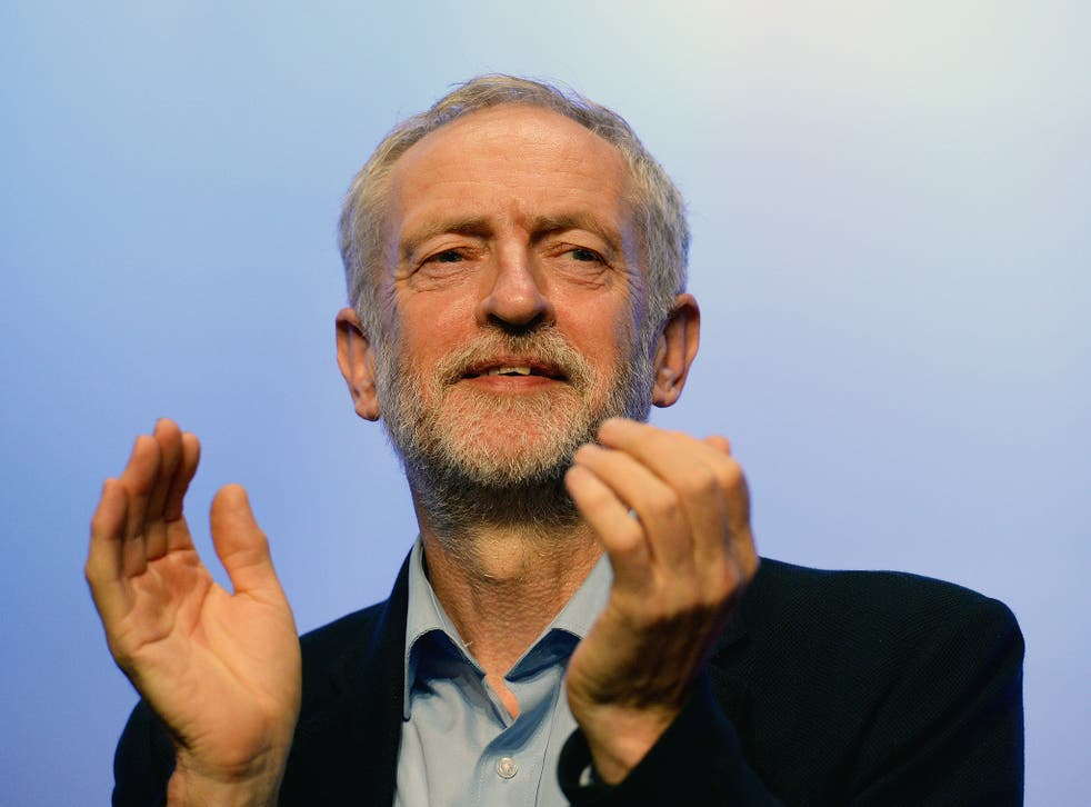 Labour party leader Jeremy Corbyn addresses the TUC Conference at The Brighton Centre