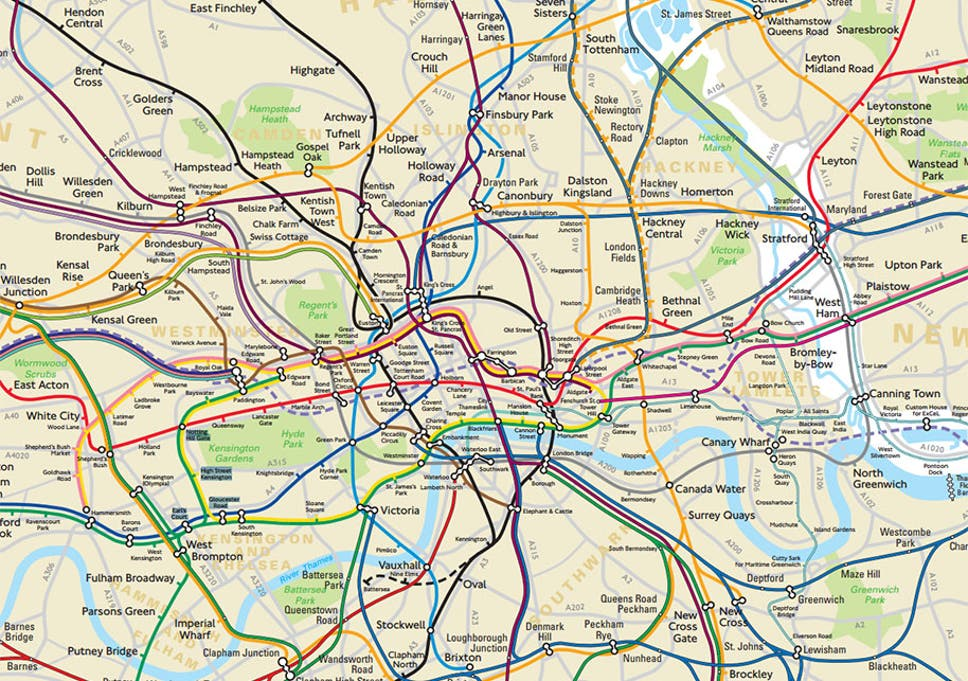 accurate map of london underground and other rail lines