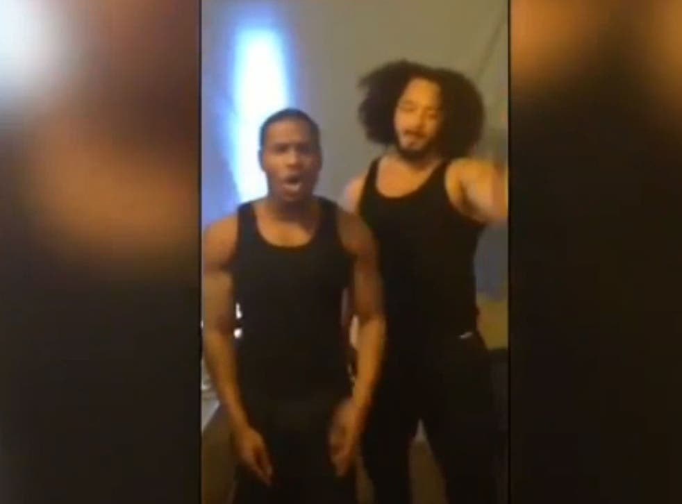 A screenshot from the prison rap video that the pair are being prosecuted over