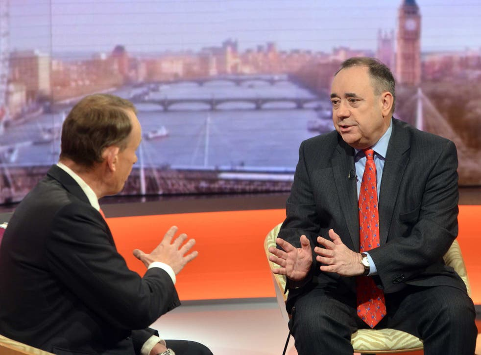 Former First Minister Alex Salmond on 'The Andrew Marr Show' earlier this year. He has asserted that BBC bias was a 'significant factor' in deciding Scottish independence referendum
