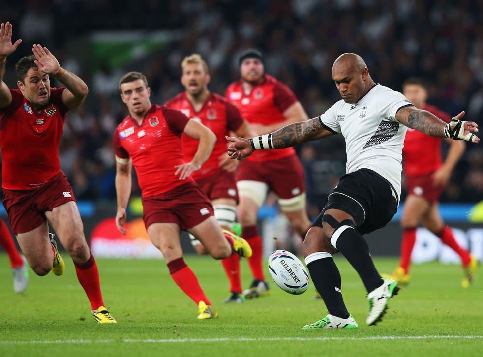 Fiji wing Nemani Nadolo kicks the ball during Fiji's defeat to England