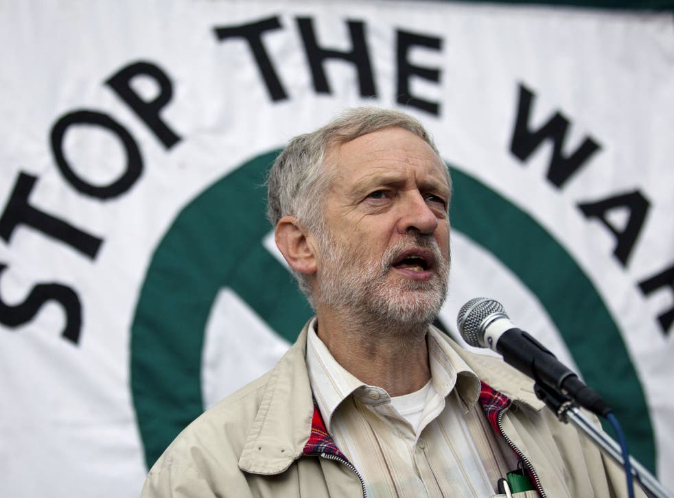 Jeremy Corbyn at an anti-war protest to mark the eleventh anniversary of the start of the war in Afghanistan, in Oct 2012