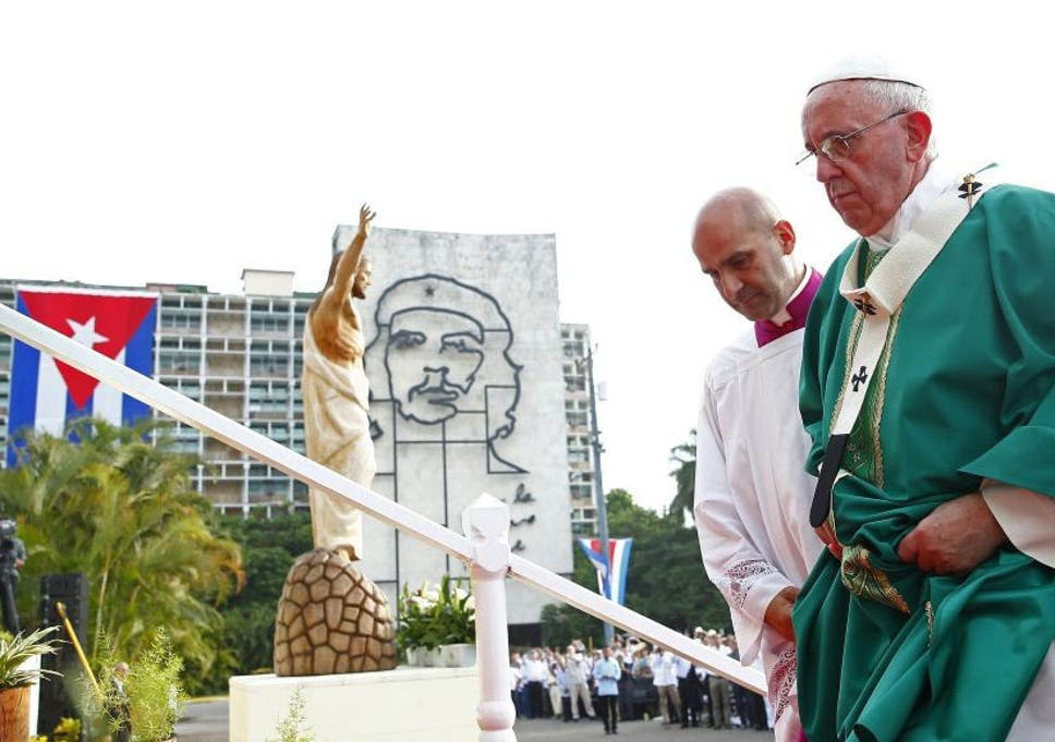 Image result for Pope Francis says mass under statue of che