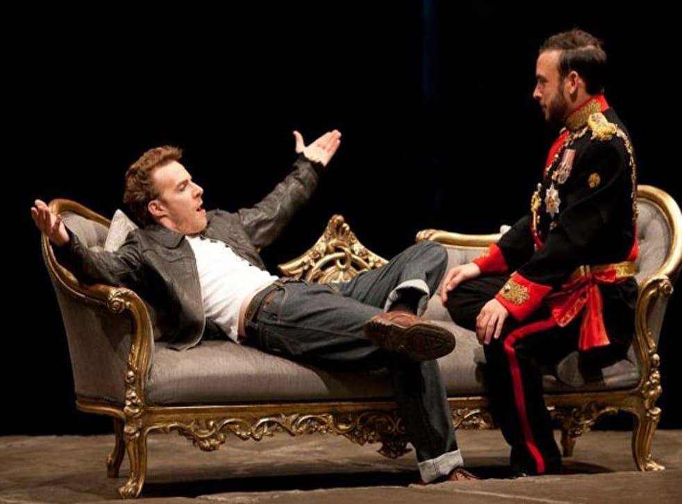 Samuel Collings (left) as Piers Gaveston and Chris New as King Edward II in Edward II at the Royal Exchange Theatre, Manchester, in 2011