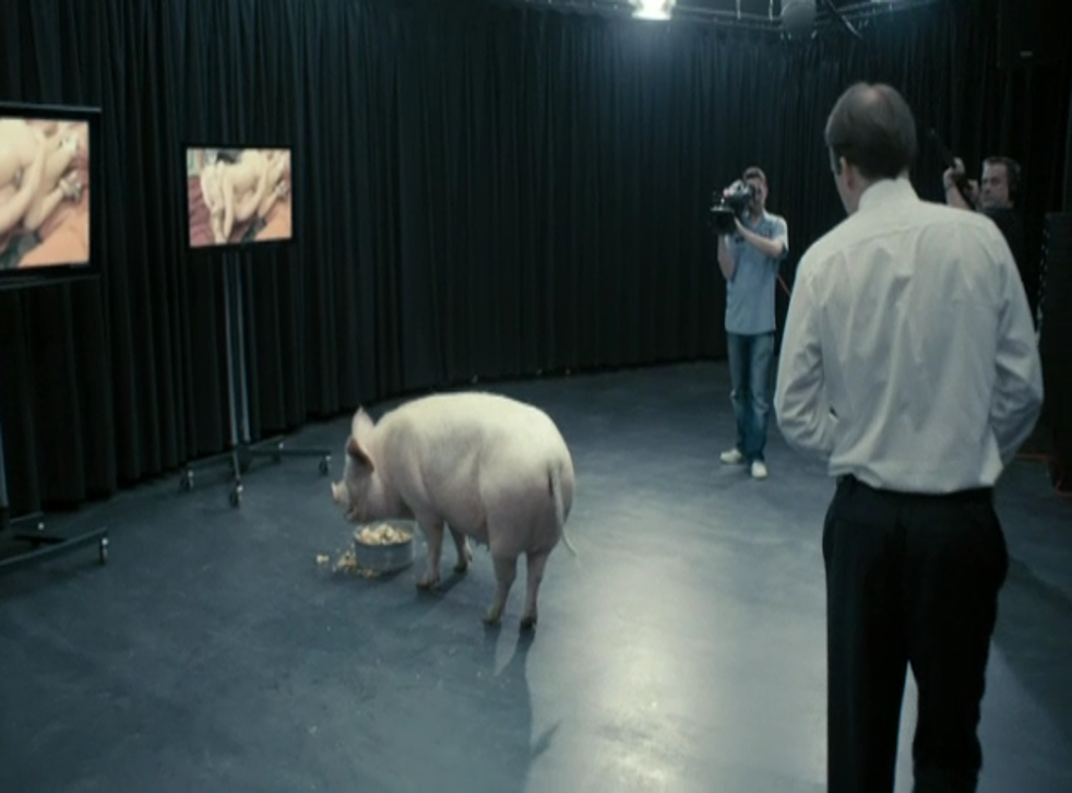 A still from Black Mirror's 'The National Anthem' episode