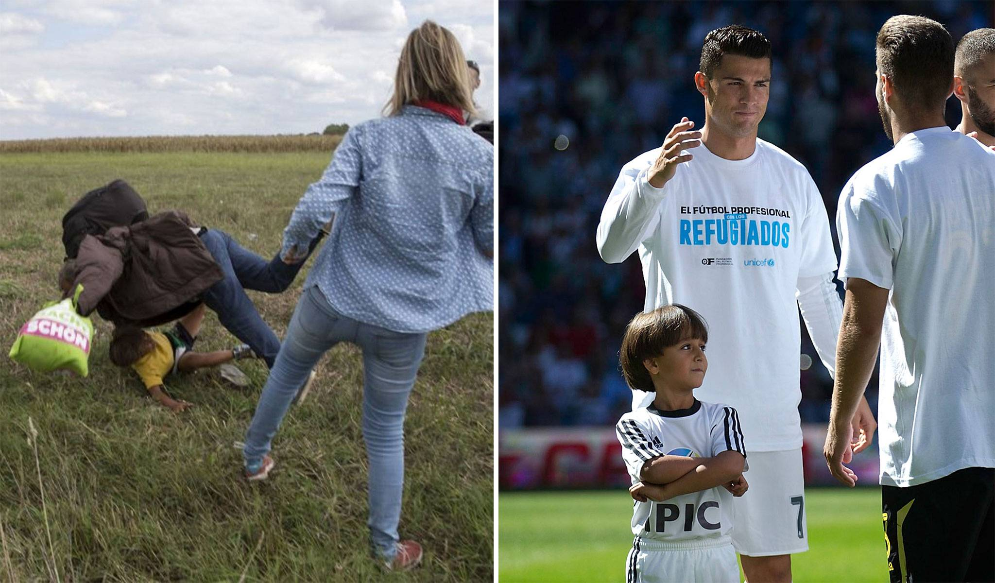 Refugee crisis: Cristiano Ronaldo walks out with Syrian boy tripped over by Hungarian camera operator before Real Madrid match