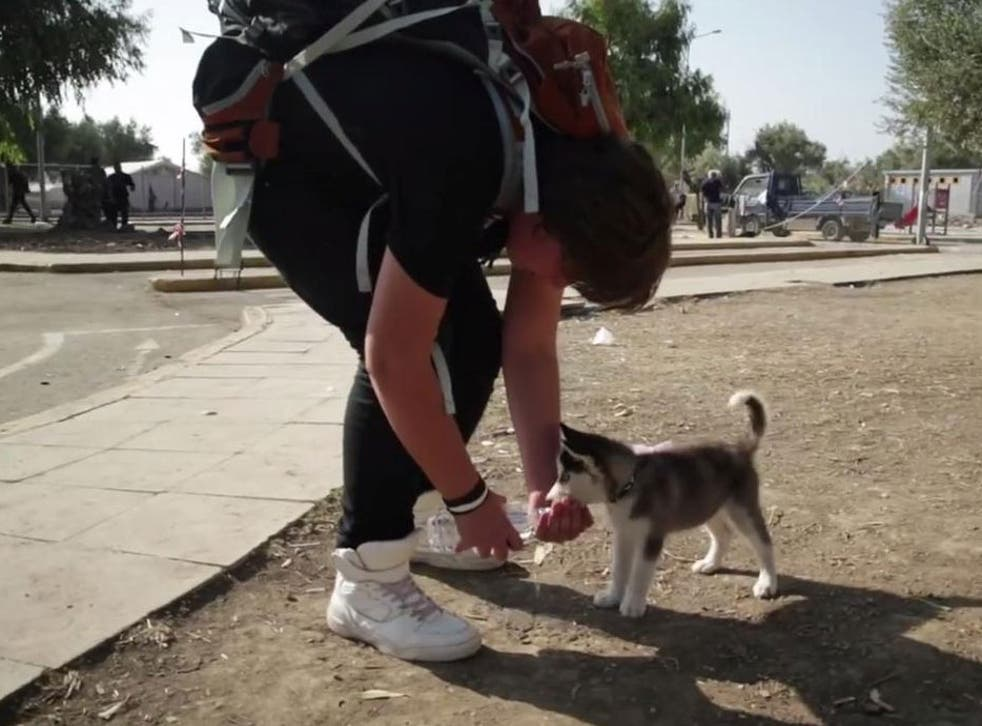 Aslan has carried his dog, Rose, all the way from Syria to Greece