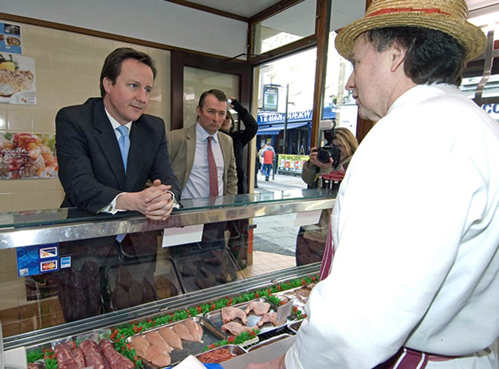 David Cameron on a visit to a local butchers in 2009