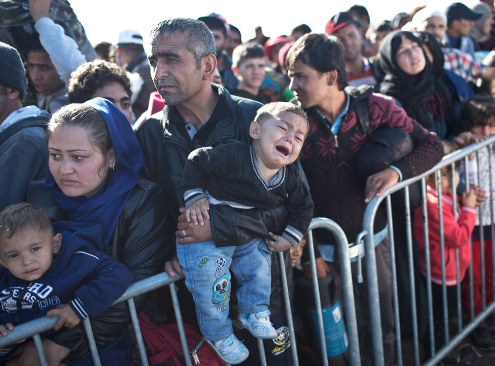 A child cries as his family wait in line in order to get into a reception center for refugees in Opatovac, Croatia