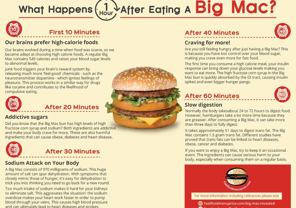 What Really Happens To Your Body An Hour After Eating A Big Mac