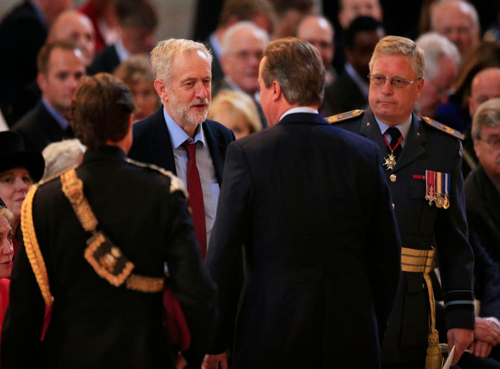 Jeremy Corbyn greets David Cameron for the first time since becoming Labour leader