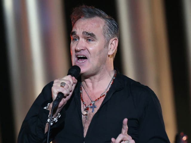 Morrissey performing on stage during the 20th annual Nobel Peace Prize Concert