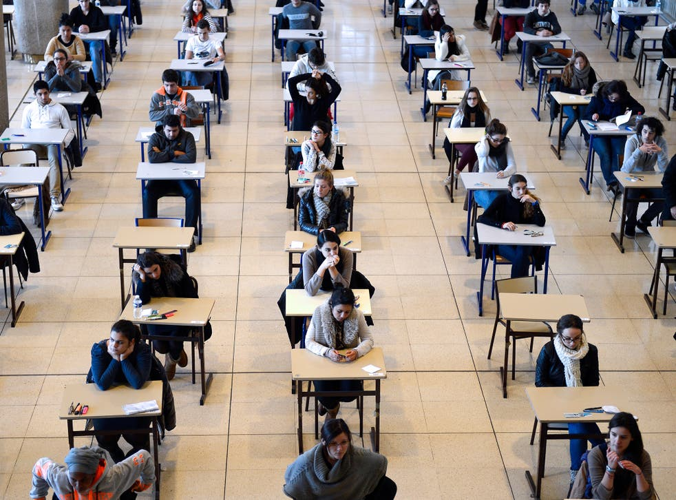 First-year students in Marseille get ready to take an exam