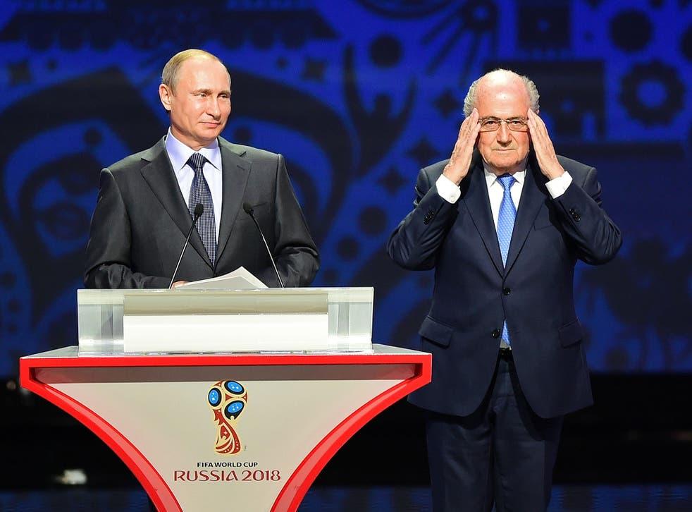 Russia president Vladimir Putin (left) and Fifa president Sepp Blatter