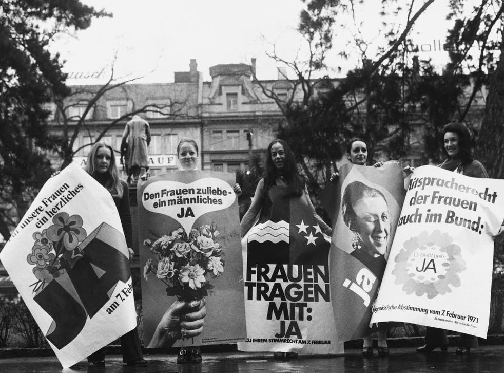 Swiss women protest in 1971 prior to the all-male vote which at last granted them suffrage